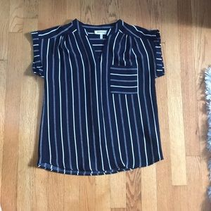 Monteau Tops - Navy blue and white shirt/blouse